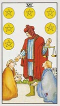 Six of Pentacles Universal Rider Waite