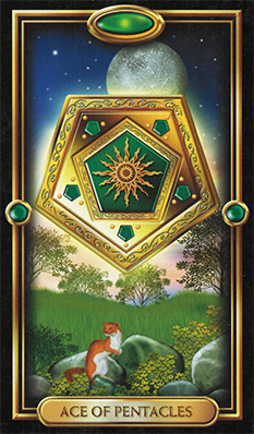 Ace of Pentacles from the Gilded Tarot Deck